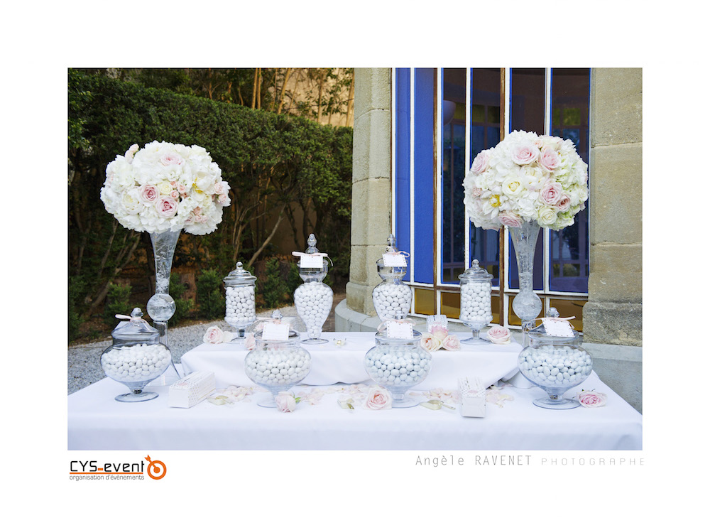 Decoration Candy bar mariage glamour chic moderne CYS Event Nîmes