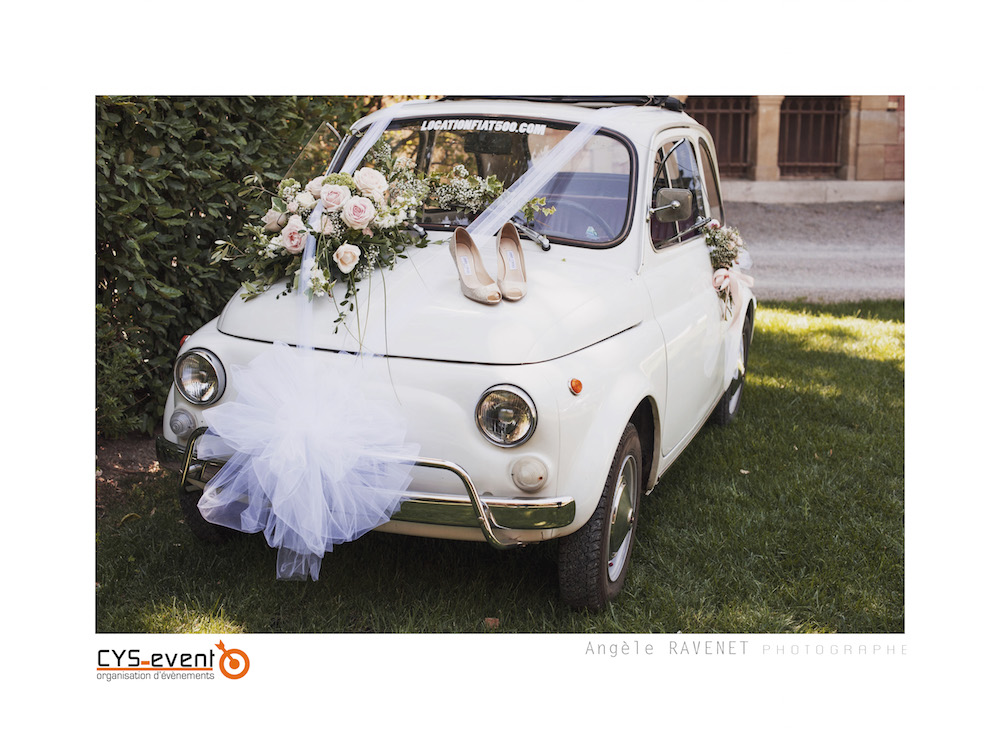 Decoration voiture mariage glamour chic moderne CYS Event Nîmes